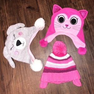 Childrens Place baby girl winter hats bundle!